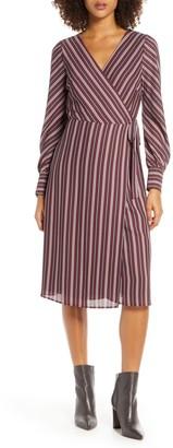 Chelsea28 Striped Long Sleeve Wrap Midi Dress