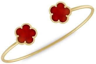 Jan Kou Flower 14K Goldplated & Coral Agate Cuff Bracelet