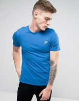 Nike Embroided Swoosh T-shirt In Blue 827021-443