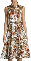 Chetta B Floral-Print Belted Shirtdress, White Pattern
