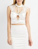 Charlotte Russe Caged Lace-Trim Mock Neck Bustier Top