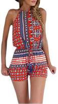 Ninimour Women's Low Cut High Waist Bohemian Casual Romper Playsuit