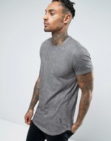Religion Longline T-Shirt in Cracked Print with Woven Shoulder Detail