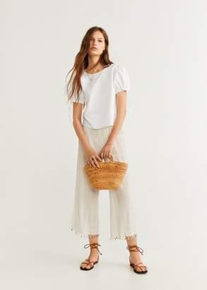 MANGO Puffed sleeves blouse off white - 2 - Women
