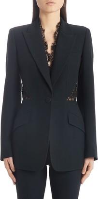 Alexander McQueen Lace Trim Leaf Crepe Corset Blazer