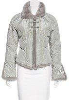 Roberto Cavalli Mink Fur-Trimmed Silk Jacket