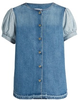 Sonia Rykiel Puff-sleeved denim blouse