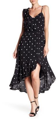 1 STATE Polka Dot Ruffle High/Low Midi Dress
