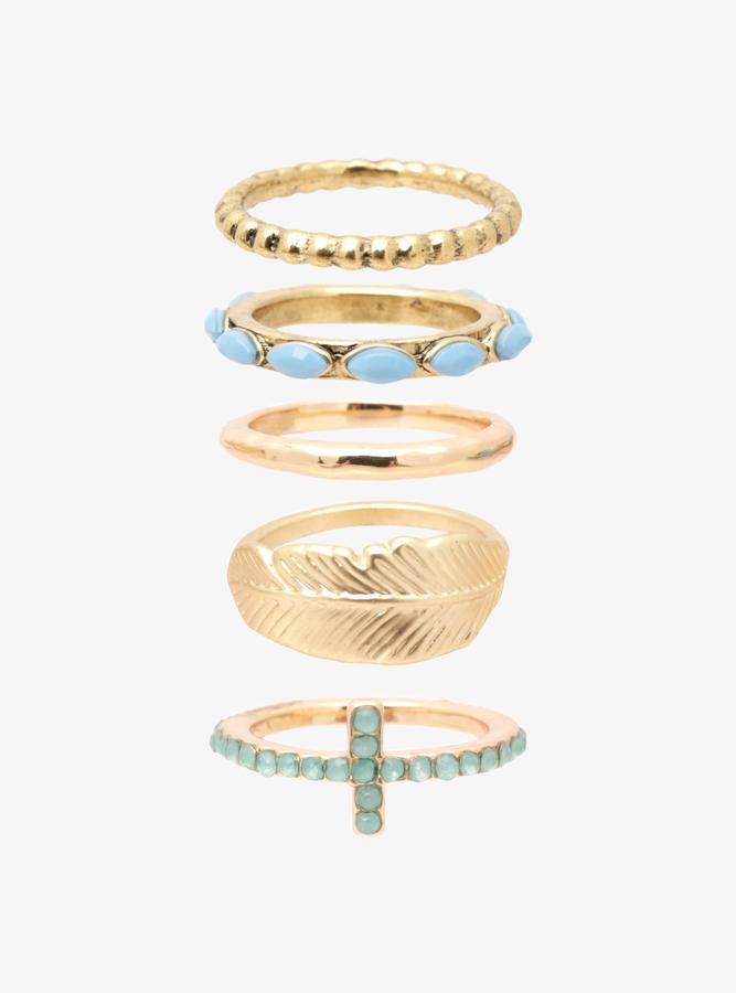 Torrid Cross & Feather Ring Set