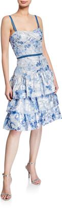 Marchesa Notte Metallic Printed Fils Coupe Tiered Tea-Length Cocktail Dress
