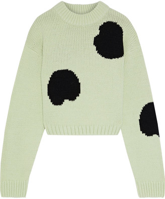 Tibi Cropped Intarsia Wool-blend Sweater