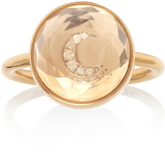 Noush 14ct Yellow Gold Diamond And Clear Quartz Moon Ring
