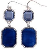 Gloria Vanderbilt Silver-Tone Blue Double Drop Earrings