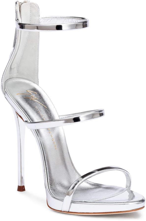 Giuseppe Zanotti Harmony 120 silver metallic leather sandals