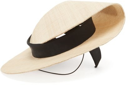 Stephen Jones Fold Grosgrain-bow Straw Boater Hat - Beige