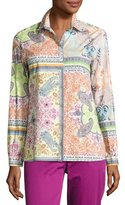 Etro Quadrant Paisley Cotton Blouse, Red/White/Multi