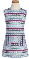 Oscar de la Renta Toddler Girl's 'Winter Melody' Floral Print Stretch Cotton Dress