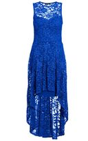 Quiz Royal Blue Glitter Lace Dip Hem Dress