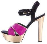 Barbara Bui Python-Trimmed Platform Sandals w/ Tags