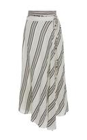 Apiece Apart Striped Linen and Silk-Blend Skirt