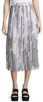 Kenzo Abstract Cactus Pleated Georgette Skirt, Steel Gray