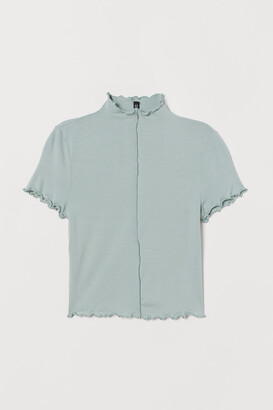 H&M Overlock-detail Cropped Top