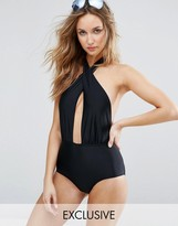 South Beach Cross Neck Plunge Swimsuit