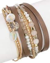 Saachi Disco Leather Wrap Bracelet