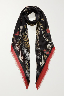 Alexander McQueen Regal Leopard Printed Modal And Wool-blend Scarf - Black