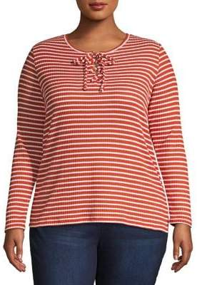 MICHAEL Michael Kors Cutout Lace-Up Ribbed Striped Top