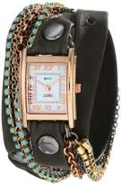 La Mer Women's LMMULTI3006 Rose Gold-Plated Watch with Wraparound Black Leather Band and Swarovski Crystal Chains