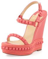 Christian Louboutin Cataclou Studded Wedge Sandal, Pink