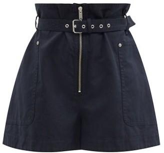 Etoile Isabel Marant Parana Paperbag-waist Cotton-blend Shorts - Black