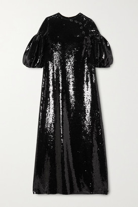 Huishan Zhang Celine Sequined Georgette Maxi Dress - Black