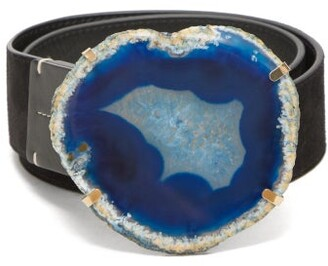 Altuzarra Agate-buckle Suede Belt - Black Blue