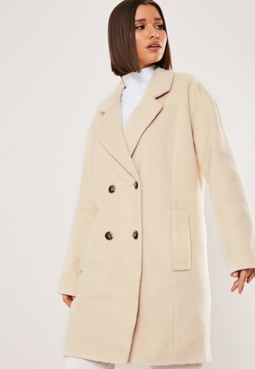 Missguided Cream Contrast Horn Button Oversized Coat