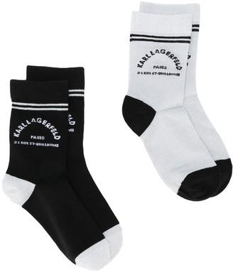 Karl Lagerfeld Paris Logo Print Ankle Socks