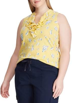 Chaps Plus Printed Sleeveless Ruffled Cotton Top