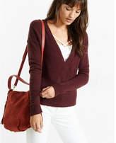 Express surplice slub knit sweater
