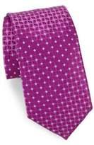 Charvet Fuschia Diamond Print Silk Tie