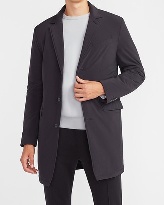 Express Black Nylon Stretch Water-Resistant Topcoat