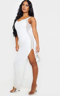 PrettyLittleThing White Sleeveless Mesh Insert Split Detail Maxi Dress