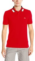 Lacoste Men's Short Sleeve Jacquard Color Block Collar Shirt