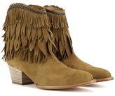 Aquazzura Pocahontas Cowboy 45 Suede Ankle Boots