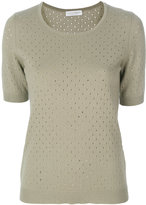 Le Tricot Perugia punch hole knit top - women - Virgin Wool/Silk/Cashmere - S