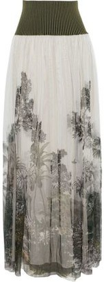 Alberta Ferretti Ribbed Knit-paneled Printed Tulle Maxi Skirt