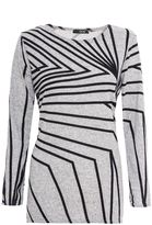 Quiz Grey And Black Print Long Sleeve Top