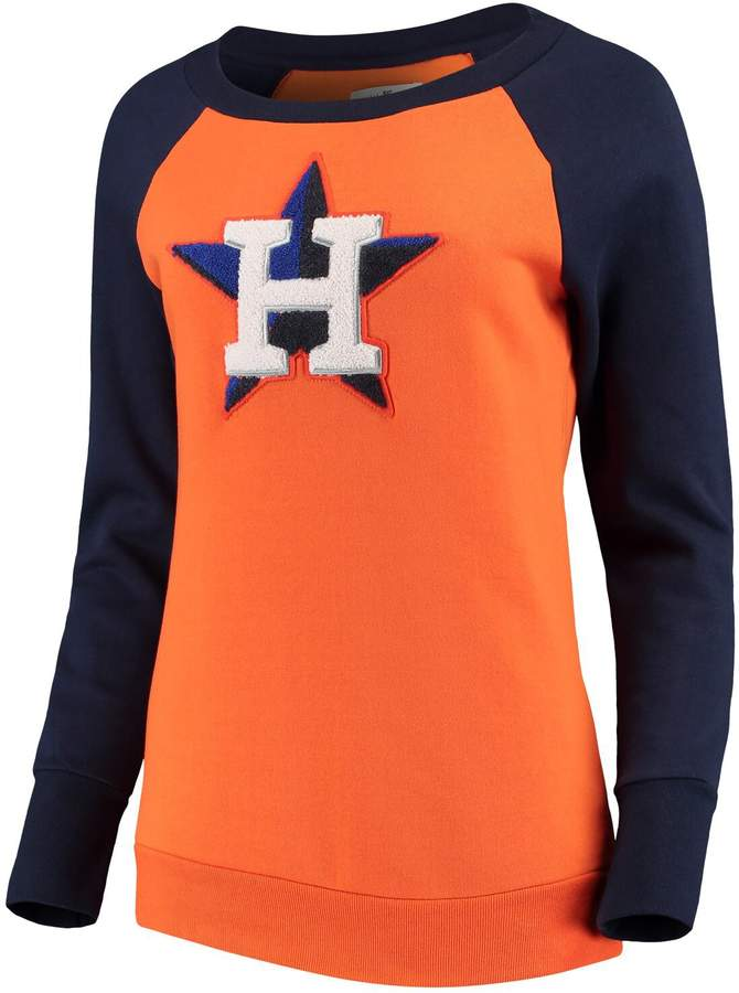 newest 6cab1 6f016 G Iii Women's G-III 4Her by Carl Banks Orange Houston Astros Top Ranking  Tunic Raglan Crew Sweatshirt