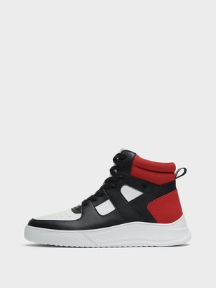 DKNY Men's Ace High Top Sneaker - White/Red/Black - Size 7
