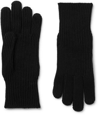 Moncler Logo-Appliqued Ribbed Wool Gloves